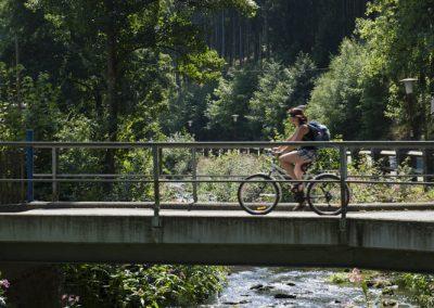 """Brücke über die """"Lichte"""" in Unterweißbach."""