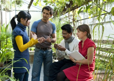 Studenten diskutieren über die Beschaffenheit bestimmter Pflanzen im Gewächshaus des botanischen Instituts am Fachbereich Biologie der Universität Göttingen